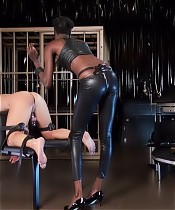 Blkack Mamba, a real african Lady in Berlin. She loves to play with the slaves ass. Strap-on fucking and cp