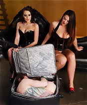 Mistresses Alexis Grace and Alison Tyler subject their slave to some humiliating ass worship and a milking.