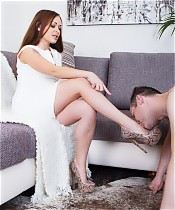 Hot bossy lady fucks obedient foot worshiper slave in the ass with strapon