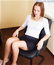 Lazy office worker reduced to sobbing mess worshiping his lady boss's feet