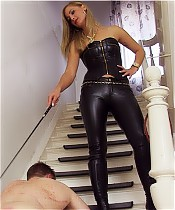 Introducing Countess Stella who whips a slave on the stairs.