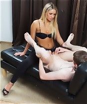 Hot dominant lady doesn't even bother to strip when pegging her nasty slave