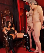 FemDom slut Carly lines her submissives up and has a cock size contest.